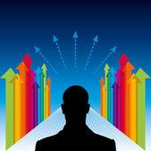 Arrow with businessman — Stock Vector