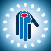 Cérebro humano na mão — Vetor de Stock