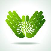 Eco tree in hands — Stock Vector