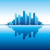 Blue panorama city — Vecteur