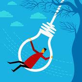 Swinging a businessman — Stock Vector