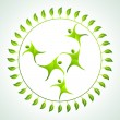 Green people fly in group — Stock Vector