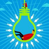 Hanging a new idea — Stock Vector