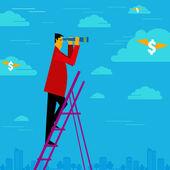Businessmanwatching the money cloud — Stock Vector