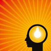 Lidské hlavy s žárovkou — Stock vektor