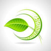 Icono de eco con la hoja de — Vector de stock