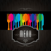 Menu card  with colofful eating utensils — Stock Vector