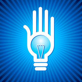 Bulb idea with human hand — Stock Vector