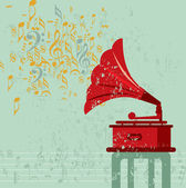 Vintage banner with old gramophone — Stock Vector