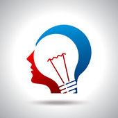 Human head thinking a new idea — Stock Vector