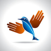 Fly of bird to hand — Stock Vector