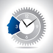Human head with clock gear — Stock Vector