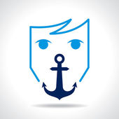 Anchor with human face — Stock Vector