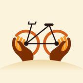 Cycle in hands — Stock Vector