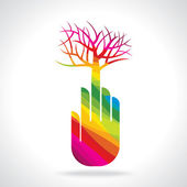 Tree with hand illustration — Stock Vector