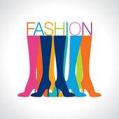 Women legs wearing high-heeled shoes — Stock Vector