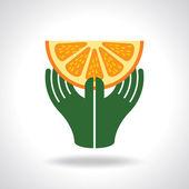 Hand with orange — Stock Vector