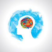 Human head thinking — Stock Vector