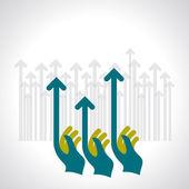 Human hand push the business chart — Vettoriale Stock