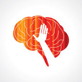 Brain with hand creative concept — Stock Vector