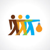 Reach idea with human group — Stock Vector