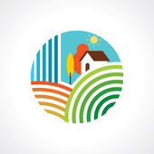 Rural landscape with hut — Stock Vector