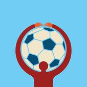 Holding football man — Stock Vector