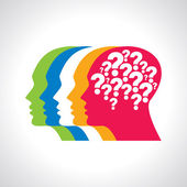 Question mark with human head — Stock Vector