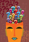 Human head and question marks — Stock Vector