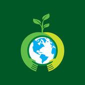 Aiutando a mano rendono l'albero sulla terra — Vettoriale Stock