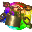 Rainbow Earth breaking golden chain - transformation of world - Stock Photo