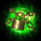 Green Earth wirh aura breaking golden chain - transformation of world — Stock Photo