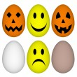 Eggs with easter and halloween smile - emoticon — Stock Photo
