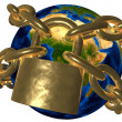 Conspiracy theories - Earth in golden chain - Europe — Stock Photo