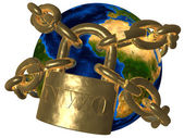 New World Order (NWO) - world in chains — Stock Photo