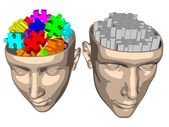Puzzle brain of woman and man — Stock Photo