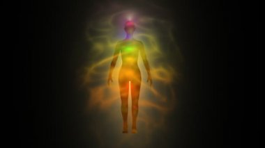 Aura of woman - human energy body, chakras — Stock video
