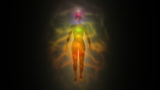 Aura of woman - human energy body, chakras — Vidéo