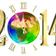 Stock Photo: Happy new year 2014 - Europe, Asiand Africa