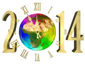 Happy new year 2014 - Europe, Asia and Africa — Stock Photo