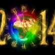 Happy new year 2014 - PF 2014 - Europe, Asiand Africa — Stock Photo #34842175