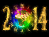 Happy new year 2014 - PF 2014 - Europe, Asia and Africa — Stock Photo