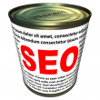 SEO (search engine optimization) - can of instant SEO — Stock Photo