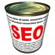 SEO (search engine optimization) - can of instant SEO — Stock fotografie
