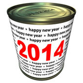 Happy new year 2014 - can with numbers 2014 — Stock Photo