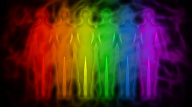 Rainbow people - rainbow silhouettes of human aura — Stock Video