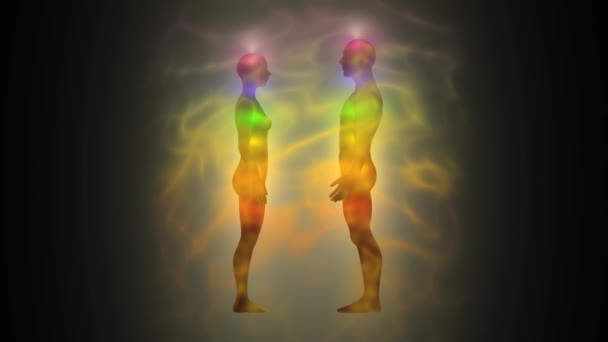 Silhouette of woman and man with aura and energetic body — Vidéo