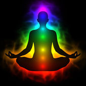Human energy body, aura, chakra in meditation — Stockfoto