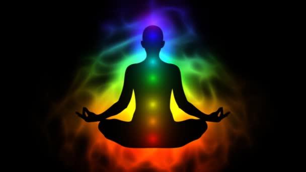 Cuerpo de energía humana, aura, chakra en meditación — Vídeo de stock