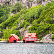Red fjord houses — Stock Photo